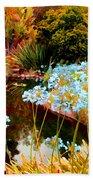 Blue Lily Water Garden Beach Towel