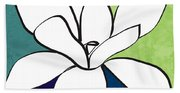 Blue Magnolia 1- Floral Art Beach Sheet