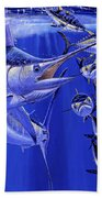 Blue Marlin Round Up Off0031 Beach Towel by Carey Chen