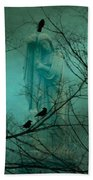 Angel And Crows In A Blue Mist Beach Towel