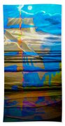 Blue Moonlight With Seagull And Sails Beach Towel
