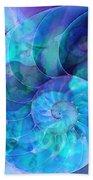 Blue Nautilus Shell By Sharon Cummings Beach Towel