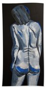 Blue Nude Self Portrait Beach Towel