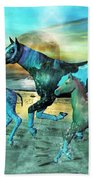 Blue Ocean Horses Beach Towel