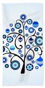 Blue Ornaments Beach Towel