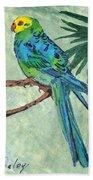 Blue Parakeet Beach Towel