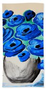 Blue Poppies Beach Towel by Ramona Matei