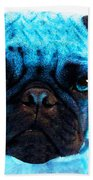 Blue - Pug Pop Art By Sharon Cummings Beach Sheet