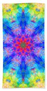 Blue Rainbow Star Mandala Beach Towel