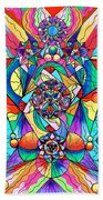 Blue Ray Transcendence Grid Beach Towel by Teal Eye  Print Store
