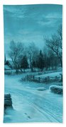 Blue Retro Vintage Rural Winter Scene Beach Towel