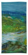 Blue River Landscape II, 1988 Oil On Canvas Beach Towel
