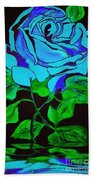 Blue Rose In The Rain Beach Towel