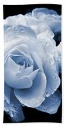 Blue Roses With Raindrops Beach Towel