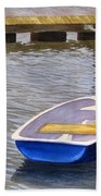 Blue Row Boat Beach Towel