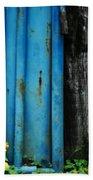 Blue Rusty Farm Gate Beach Towel