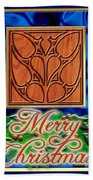 Blue Satin Merry Christmas Beach Towel