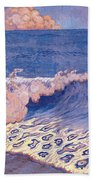Blue Seascape Wave Effect Beach Towel