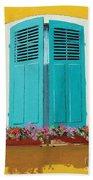 Blue Shutters And Flower Box Beach Towel