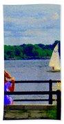 Blue Skies White Sails Drifting Blonde Girl And Collie Watch River Run Lachine Scenes Carole Spandau Beach Towel