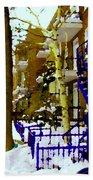 Blue Snowy Staircase And Birch Tree Montreal Winter City Scene Quebec Artist Carole Spandau Beach Towel