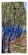 Blue Trees In Nature Beach Towel