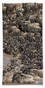 Blue Wildebeest Migration Beach Towel
