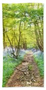 Bluebell Wood Watercolour Beach Towel