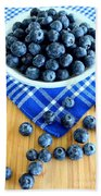 Blueberries And Blue Napkin Beach Towel