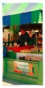 Blueberries Strawberry Jam Baskets Ferme Racine Petits Fruits Jean Talon Market Scene Carole Spandau Beach Towel