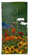 Bluebird And Colorful Flowers Beach Towel