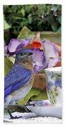 Bluebird And Tea Cups Beach Towel