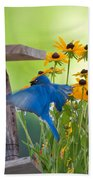 Bluebird Flying Thru Black Eyed Susans Beach Towel