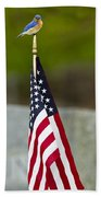 Bluebird Perched On American Flag Beach Sheet