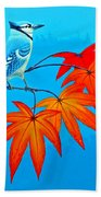 Bluejay In The Fall 2 Beach Towel