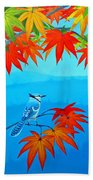 Bluejay In The Fall Beach Towel