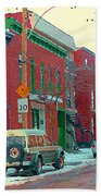 Blues And Brick Houses Winter Street Suburban Scenes The Point Sud Ouest Montreal Art Carole Spandau Beach Towel