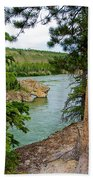 Bluff Over The River In Five Finger Rapids Recreation Site Along Klondike Hwy-yt  Beach Towel