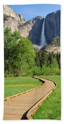 Boardwalk To Yosemite Falls  Beach Towel
