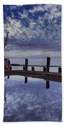Boat At Sunset Beach Towel