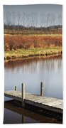 Boat Dock On A Pond In South West Michigan Beach Towel