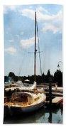 Boat - Docked Cabin Cruiser Beach Towel