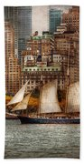 Boat - Governors Island Ny - Lower Manhattan Beach Towel by Mike Savad