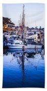 Boat Mast Reflection In Blue Ocean At Dock Morro Bay Marina Fine Art Photography Print Beach Towel