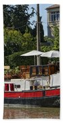 Boat On Canal Du Midi Homps France Dsc01717  Beach Towel