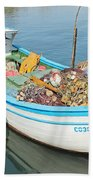 Boat Reflected In Sozopol Harbour Beach Towel