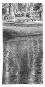 Boat Reflection Beach Towel