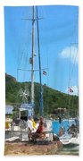 Boat - Relaxing At The Dock Beach Towel