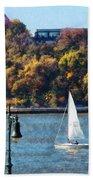 Boat - Sailboat Near Chelsea Pier Beach Towel