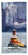 Boat - Tugboat By Manhattan Skyline Beach Towel